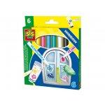 Флмастери за прозорци SES, 6 цвята
