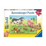 Пъзел Ravensburger 2х12 ел. - Семейство щастливи животни