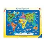 Пъзел Ravensburger 30-48 ел. - Карта на света с животни