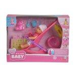 Кукла пишкащо бебе с количка и аксесоари Mini New Born Baby